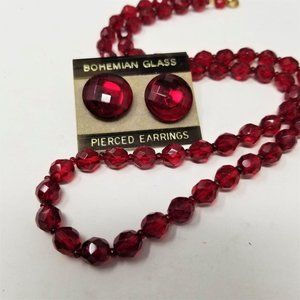 Bohemian Glass Necklace & Earring Set Red Faceted